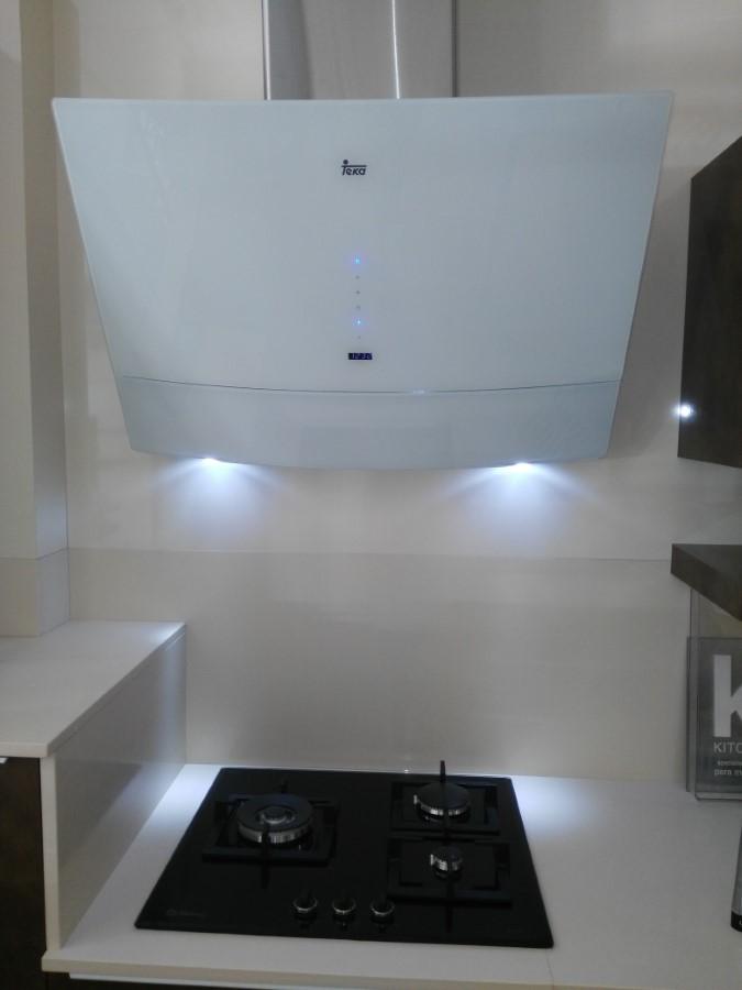 Campana Inclinada Teka Diseño Curvo Cristal Blanco
